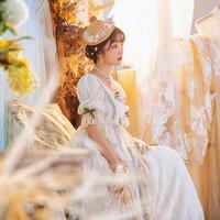 圆点点小姐 莎莉花园 洛丽塔 刺绣华丽帝政风连衣裙  均色 S