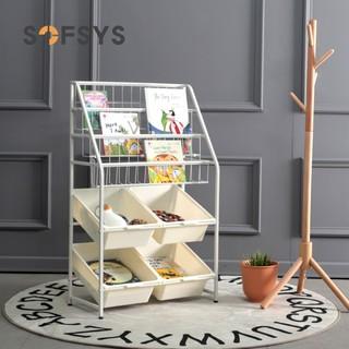 儿童玩具收纳架家用收纳柜神器落地整理架置物架宝宝铁艺绘本书架  书架 L码 (4层书架+1层收纳架)