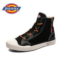 Dickies女鞋2021年夏季新款帆布鞋薄款高帮鞋情侣款百搭透气板鞋 黑色 34