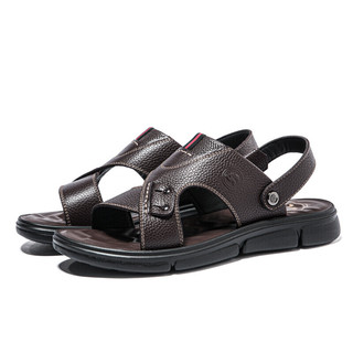 CAMEL 骆驼  W022263092 男士两穿牛皮凉拖鞋