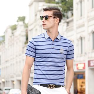 2021夏季新款翻领衬衫领polo衫潮流商务休闲帅气条纹男士短袖t恤