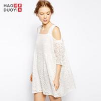 Haoduoyi 甜美清新露肩蕾丝绣花短裙气质大摆中袖双层宽松连衣裙女