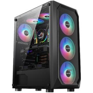 航嘉 暗夜猎手5 电脑机箱台式DIY全侧透游戏水冷ATX大板背线机箱