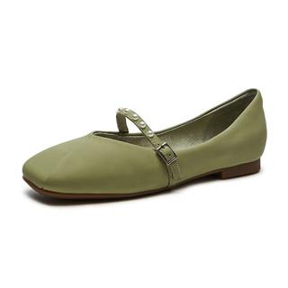 hotwind 热风 商场同款21年春季新款女士时尚休闲鞋羊皮浅口平底单鞋女