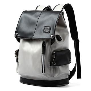 OFIM 双肩包男士背包皮质休闲运动旅行电脑包高中大学生书包男 BB-6066黑灰色