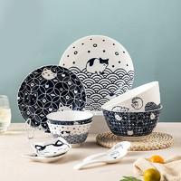 樱之歌 猫咪日式饭碗陶瓷家用饭碗碟筷子餐具套装礼盒装12件套