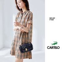CARTELO 卡帝乐鳄鱼 2021夏季新款复古经典小格宽松显瘦减龄翻领短袖衬衫连衣裙女