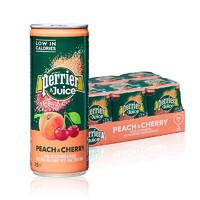 PLUS会员:perrier 巴黎水 桃子&樱桃味果汁 含气饮料   250ML*24罐