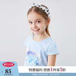 Annil 安奈儿 安奈儿X灰姑娘联名系列 童装女童T恤短袖新款甜美印花上衣 冰水蓝 120cm
