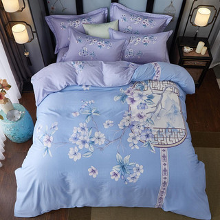 全棉印花四件套 大版中国风单双人纯棉床单被套被罩(适合200x230cm被芯)