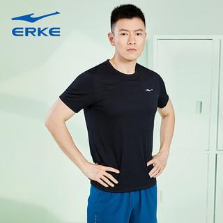 ERKE 鸿星尔克 鸿星尔克男t恤透气舒适运动短袖运动上衣 51220291069 正黑 L
