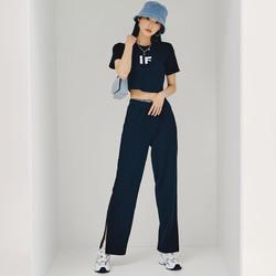 HSTYLE 韩都衣舍 时尚套装韩都衣舍夏季新款印花休闲短款舒适两件套