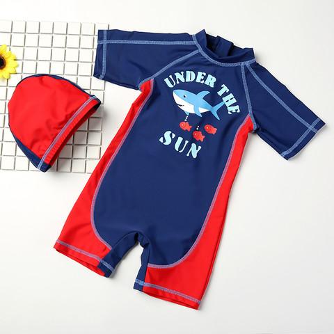 YUKE 羽克 儿童泳衣男童 宝宝婴儿游泳衣中小童游泳裤连体泳装带帽长袖防晒