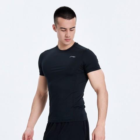 LI-NING 李宁 短袖t恤男式t恤AUDQ041时尚健身运动训练百搭紧身衣