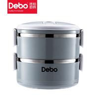 DEBO 德铂 Debo德铂304不锈钢饭盒1.4L双层便当盒 索拉卡