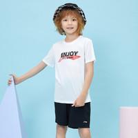 LI-NING 李宁 儿童运动套装男小中大童春夏新款T恤短裤两件套110-175码