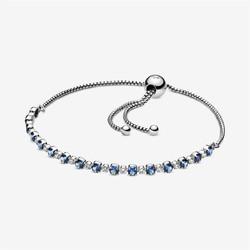 PANDORA 潘多拉 598517C01-2 蓝色和透明闪耀可调节手链