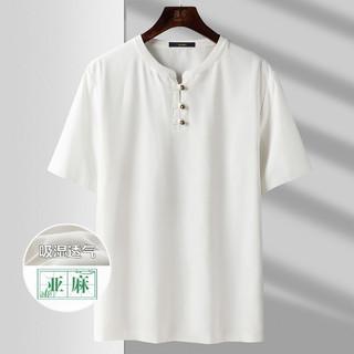 ROMON 罗蒙 春夏新款纯色圆领复古盘扣半袖男通勤时尚男士短袖T恤
