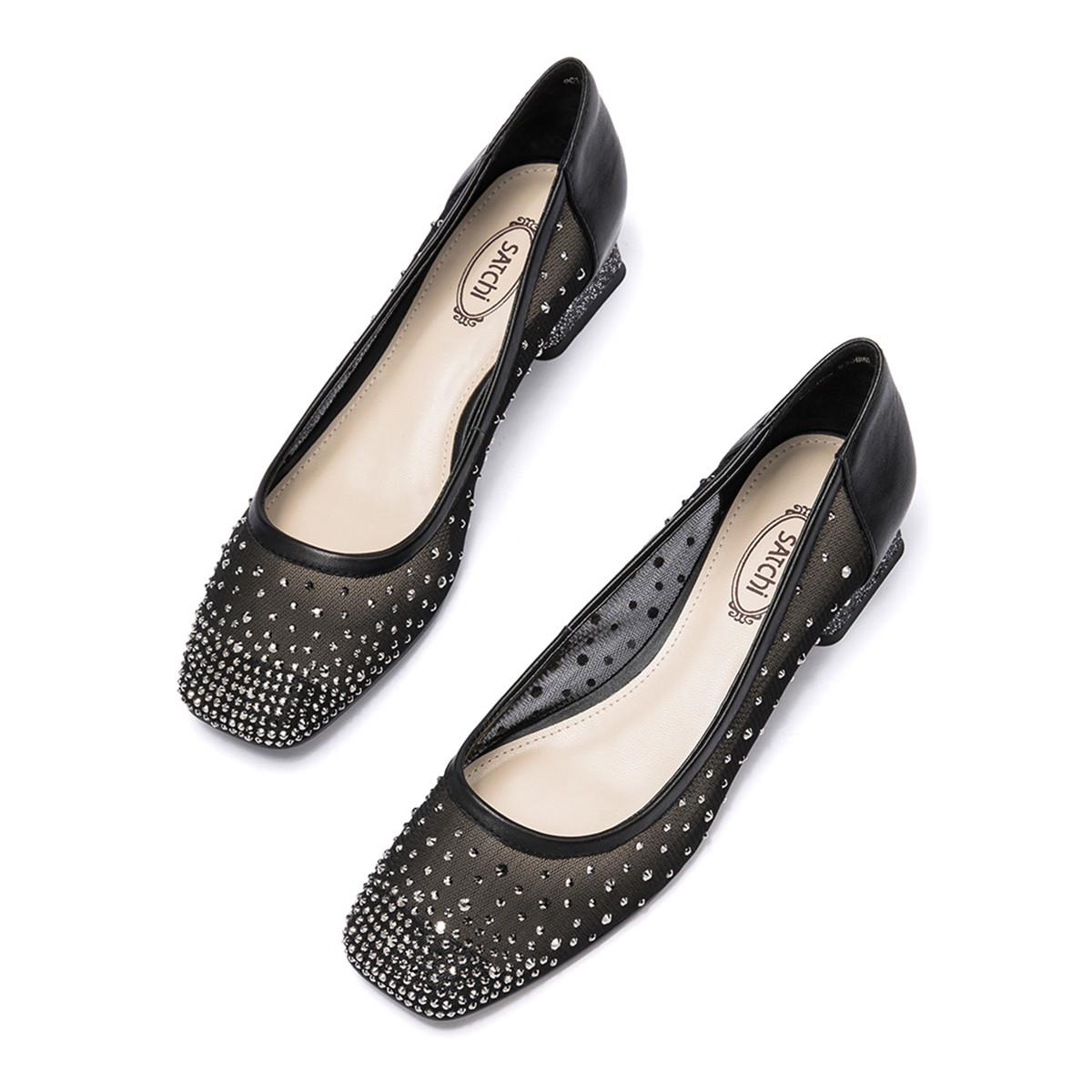SATCHI 沙驰 9C16006S010 女士方头单鞋