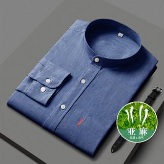 ROMON 罗蒙 春季新品商务通勤休闲时尚男士长袖衬衫纯色翻领衬衣男