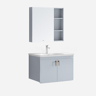 HUIDA 惠达 惠达(HUIDA)浴室柜组合PVC洗脸盆洗手盆组合镜柜卫生间洗漱台莫兰迪色1566