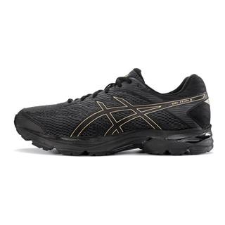 ASICS 亚瑟士 ASICS亚瑟士缓冲跑步鞋男轻便运动鞋GEL-FLUX网面透气跑鞋 黑色/金色 44