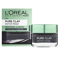 Prime会员:L\'OREAL PARIS 巴黎欧莱雅 Pure clay黑炭排毒涂抹面膜 50ml
