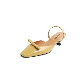 BeLLE 百丽 百丽新款油皮牛皮革女减龄蝴蝶结通勤凉鞋