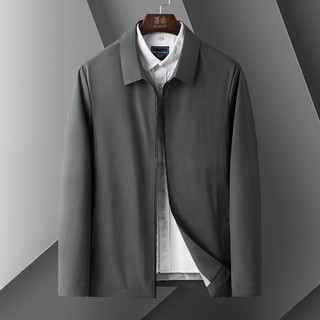 ROMON 罗蒙 春季新款商务通勤休闲时尚外套男纯色翻领基础百搭男士夹克