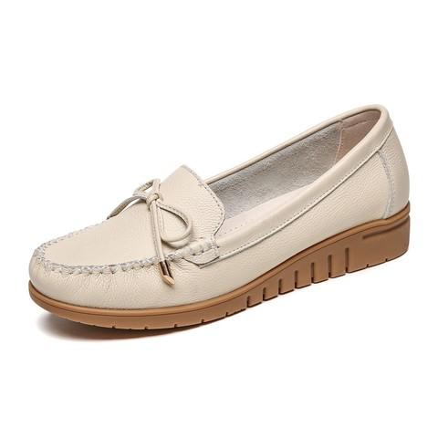 RED DRAGONFLY 红蜻蜓 新款百搭浅口软皮牛皮女鞋一脚蹬孕妇鞋坡跟厚底护士鞋豆豆鞋女