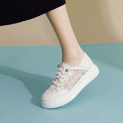 SATCHI 沙驰 21年新品 牛皮革蕾丝刺绣小雏菊超轻底休闲鞋舒适板鞋小白鞋