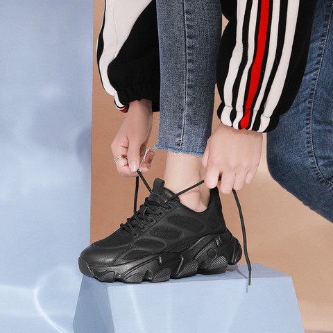 SATCHI 沙驰 21年新品姐姐同款牛皮革/织物厚底舒适系带老爹鞋运动女休闲鞋
