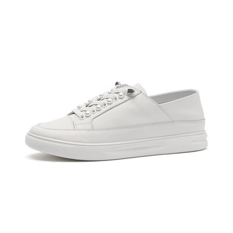 SATCHI 沙驰 21年新品牛皮革珍珠可两穿女休闲鞋平底超轻小白鞋板鞋姐姐同款