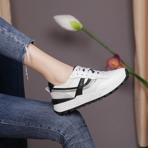 SATCHI 沙驰 21年新品姐姐同款牛皮革/羊猄皮革/织物拼接系带运动女休闲鞋