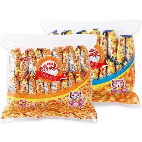 爱尚 虾条 膨化食品 虾条20包 蟹味粒20包 共720g(好吃的网红薯片零食品大礼包小吃)