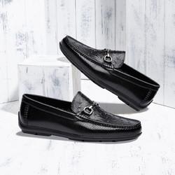 SATCHI 沙驰 牛皮革个性鸵鸟纹冲孔透气休闲鞋一脚蹬豆豆鞋男鞋