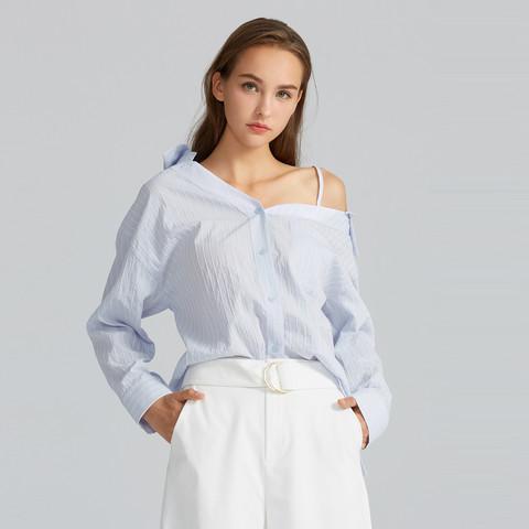 Five Plus 5+ FIVE PLUS新款女春装V领条纹衬衫女长袖中长款衬衣不对称露肩宽松