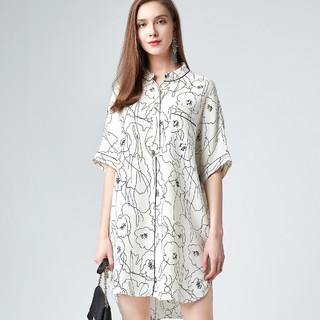 mihuang 米皇 2021上新女士桑蚕丝真丝立领短袖简约印花中长款女式衬衫