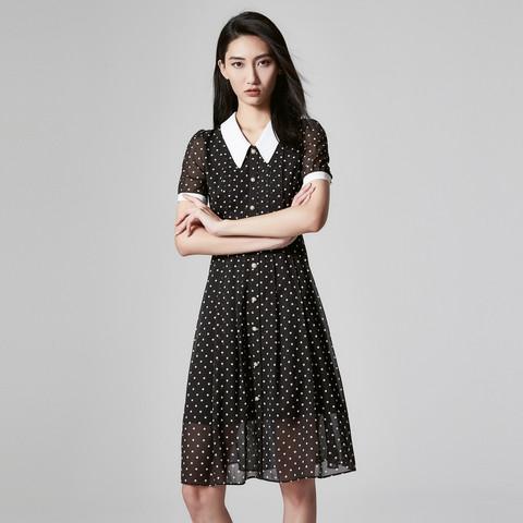 朗姿夏装新款女装娃娃领高腰短袖波点黑色仙女雪纺连衣裙女