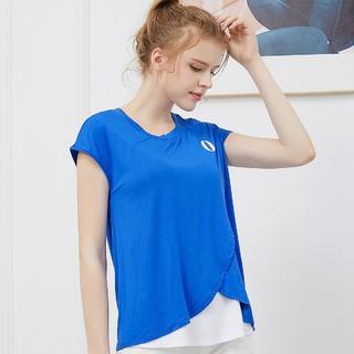 OCTMAMI 十月妈咪 孕妇装T恤夏季短袖拼接休闲上衣莫代尔可哺乳T恤女