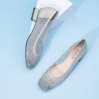 SATCHI 沙驰 新品薄纱水钻浅口镶钻舒适方头低跟奶奶鞋单鞋凉鞋姐姐同款春夏