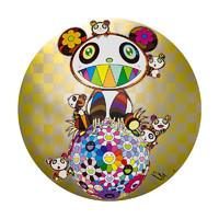 艺术品:Murakami Takashi 村上隆 ARTMORN 墨斗鱼艺术 村上隆系列 Panda,panda Cubs,and Flowerball 版画复制品