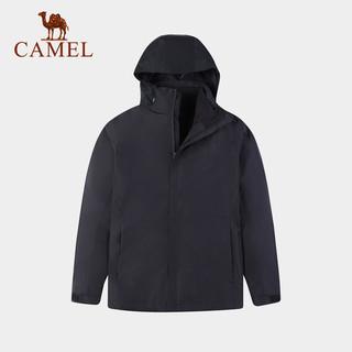CAMEL 骆驼 骆驼冲锋衣秋冬新款三合一保暖简约外套防水潮牌两件套登山服 LTA0W218149,幻影黑 S