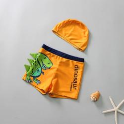 平角游泳衣带帽 中大童分体泳装