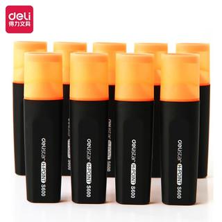 deli 得力 橙色荧光笔重点醒目标记笔 手帐可用水性记号笔10支/盒