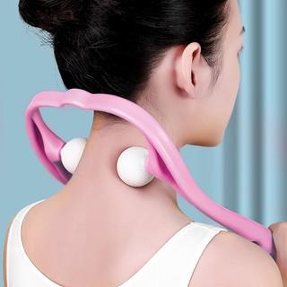 JAJALIN 加加林 手动颈椎按摩器家用肩颈部按摩器材办公室脖子保健穴位按摩器夹脖子粉色款 新老款随机