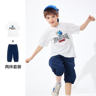 balabala 巴拉巴拉 男童纯棉印花短袖短裤套装