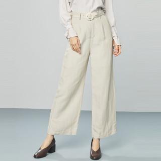 ONE MORE 文墨 2020春季新款腰带装饰休闲长裤宽松垂感时尚