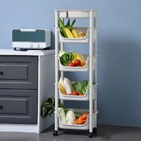 多美忆  厨房置物架落地多层蔬菜置物架用品可移动菜篮子储物筐玩具收纳神器家用大全 (升级款)五层米色