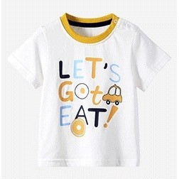 Miiow 猫人 儿童短袖印花t恤 黄色小汽车-白色 120